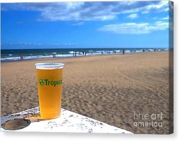 Tropical Beer On The Beach Canvas Print by Rob Hawkins