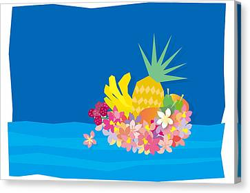 Tropical Flowers With Fruits On Waves Canvas Print