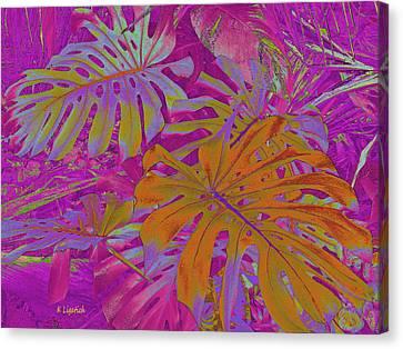 Canvas Print featuring the digital art Tropical Foliage - Pink by Kerri Ligatich