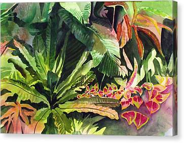 Canvas Print featuring the painting Tropical Garden by Richard Willows