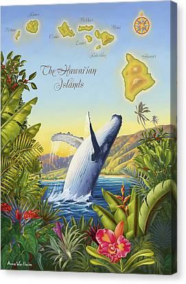 Tropical Hawaiian Island Map Canvas Print by Anne Wertheim