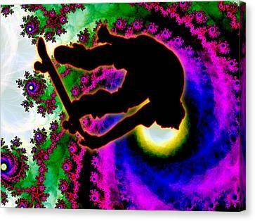 Tropical Hurricane Eye With Skateboarder Canvas Print