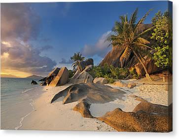Tropical Island La Digue Canvas Print by Cornelia Doerr