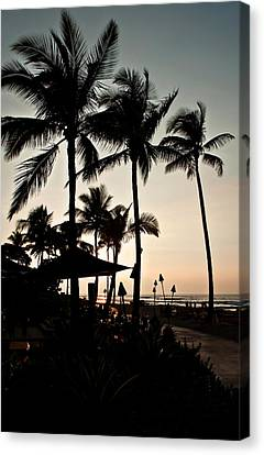Canvas Print featuring the photograph Tropical Island Silhouette Beach Sunset by Valerie Garner