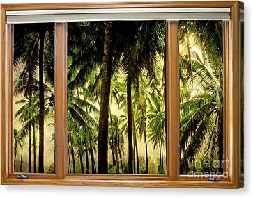 Tropical Jungle Paradise Window Scenic View Canvas Print by James BO  Insogna
