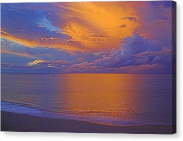 Tropical Sunset-2- St Lucia Canvas Print by Chester Williams