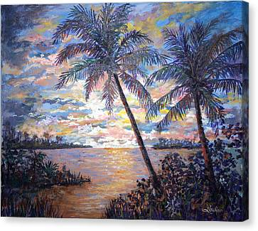 Canvas Print featuring the painting Tropical Sunset by Lou Ann Bagnall