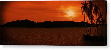 Tropical Sunset Canvas Print by Lourry Legarde