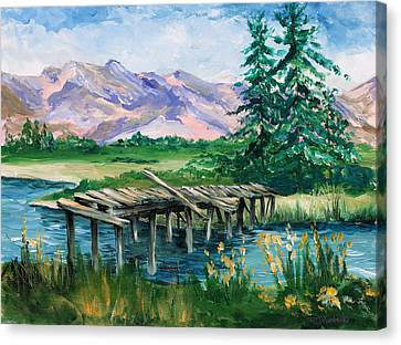 Troubled Bridge Over Water Canvas Print