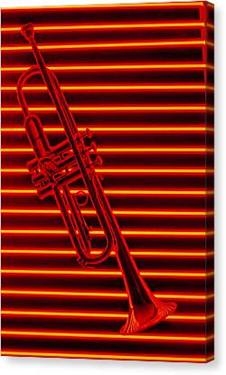 Trumpet And Red Neon Canvas Print by Garry Gay