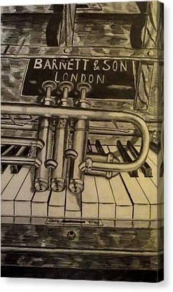 Trumpet On Piano Canvas Print
