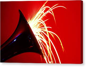 Trumpet Shooting Sparks Canvas Print by Garry Gay