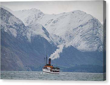 Tss Earnslaw Steamboat Against The Southern Alps Canvas Print by Laurel Talabere