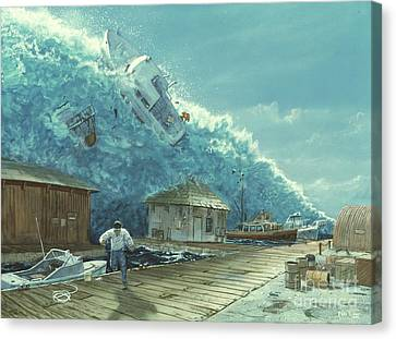 Tsunami Canvas Print by Chris Butler and Photo Researchers