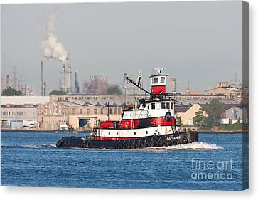 Tugboat Captain D In Newark Bay I Canvas Print by Clarence Holmes