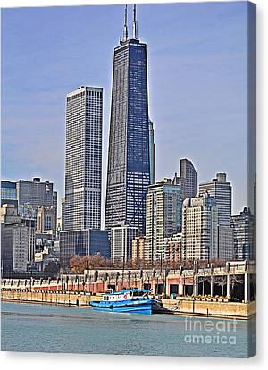 Tugboat On The Chicago River Canvas Print by Mary Machare
