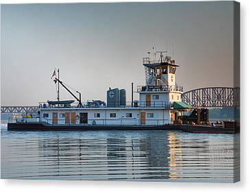 Tugboat On The Ohio I Canvas Print by Steven Ainsworth
