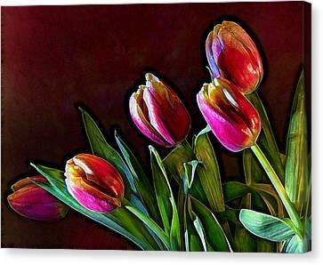 Tulip Traced Incandescence Canvas Print by Bill Tiepelman