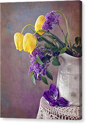 Tulips And Lilac Still Life Canvas Print by Cheryl Davis