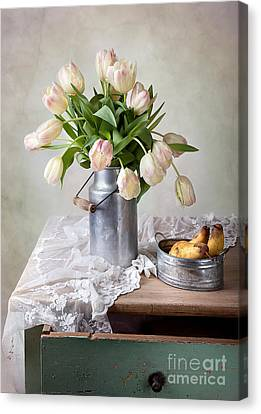 Tulips And Pears Canvas Print by Nailia Schwarz