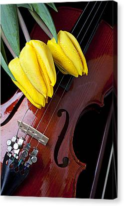 Tulips And Violin Canvas Print by Garry Gay