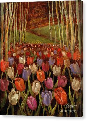 Tulips In The Woods Canvas Print by Vic  Mastis