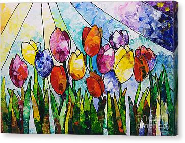 Tulips On Parade Canvas Print by Sally Trace