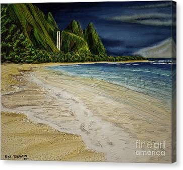 Tropical Sunset Canvas Print - Tunnels Beach by Robert Thornton