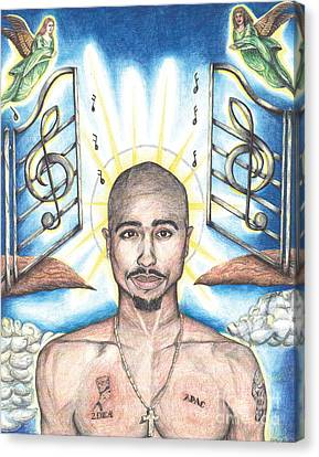 Heavens Canvas Print - Tupac In Heaven by Debbie DeWitt