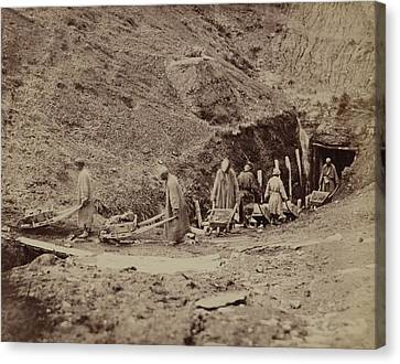 Turkestani Workers Hauling Coal From An Canvas Print by Everett
