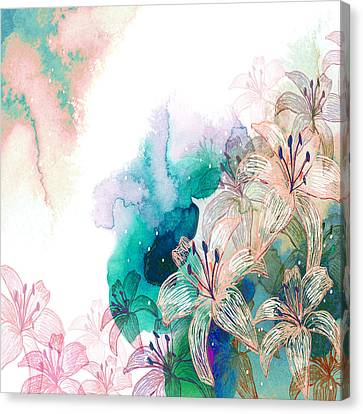 Turquoise Lilies Canvas Print by Carly Ralph