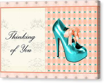 Digital Art Of High Heels Canvas Print - Turquoise Shoe Thinking Of You by Maralaina Holliday