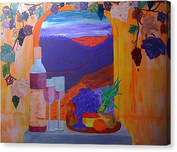 Canvas Print featuring the painting Tuscan Lunch by Judi Goodwin