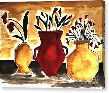Tuscan Pottery With Flowers Ll Canvas Print by Marsha Heiken