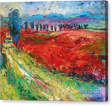 Tuscany Italy Landscape Poppy Field Canvas Print by Svetlana Novikova