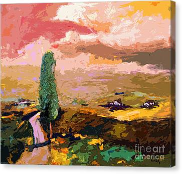 Tuscany Pink Sky Abstract Landscape Canvas Print by Ginette Callaway