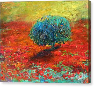 Tuscany Poppy Field Tree Landscape Canvas Print by Svetlana Novikova