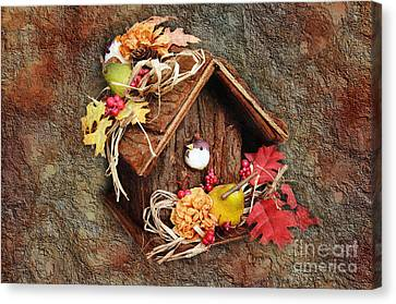 Tweet Little Bird House Canvas Print by Andee Design