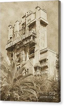 Twilight Zone Tower Of Terror Vertical Hollywood Studios Walt Disney World Prints Vintage Canvas Print by Shawn O'Brien