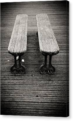 Twin Benches Canvas Print by Edward Myers