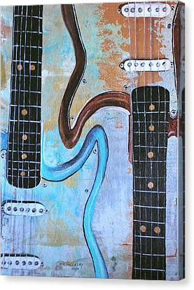 Canvas Print featuring the painting Twin Guitars by Mary Kay Holladay