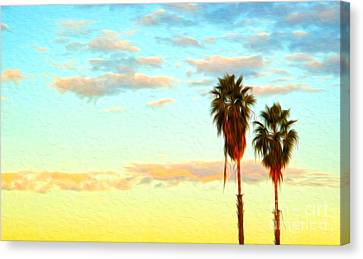 Canvas Print featuring the painting Twin Palms by Gregory Dyer