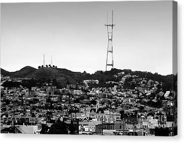 Twin Peaks In San Francisco . Black And White Canvas Print