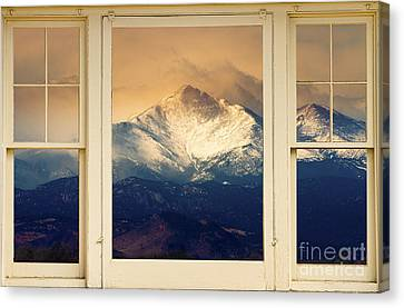 Twin Peaks Meek And Longs Peak Window View Canvas Print by James BO  Insogna