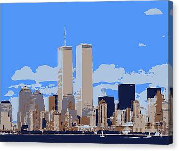Twin Towers Color 6 Canvas Print