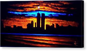 Twin Towers In Black Light Canvas Print by Thomas Kolendra