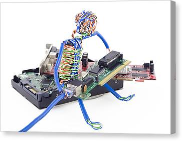 Twisted Man Assemblage The Computer Canvas Print
