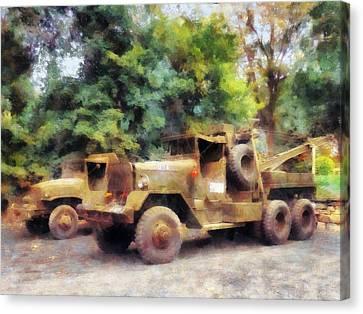 Two Army Trucks Canvas Print by Susan Savad
