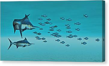 Two Blue Marlin Canvas Print by Walter Colvin