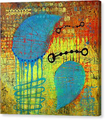 Canvas Print featuring the painting Two Blue Object by Lolita Bronzini